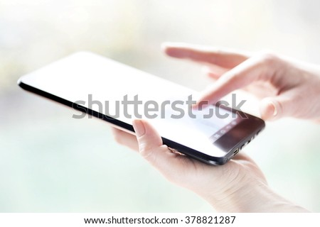 hand touching digital tablet social media at the office