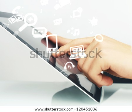 hand touching digital tablet, social media concept