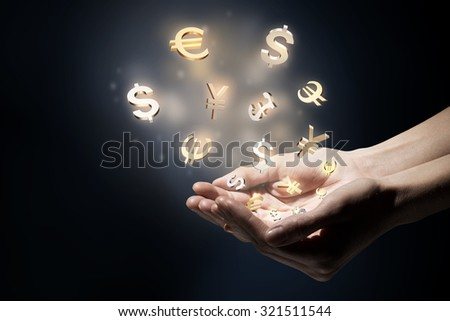 Hand touching money currency symbol with finger - stock photo