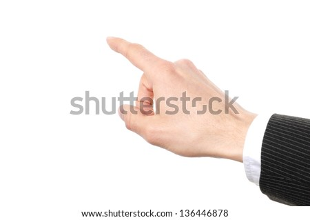 hand touching on a virtual screen isolated on white background - stock photo