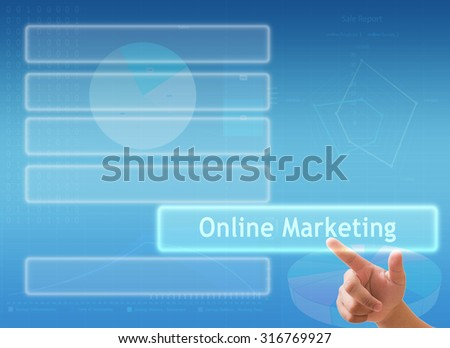 "hand touching "" Online Marketing "" sign on virtual screen"