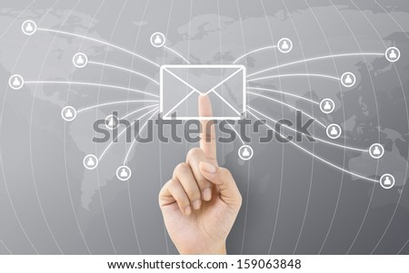 Hand Touching Post Button Connect to World Concept - stock photo