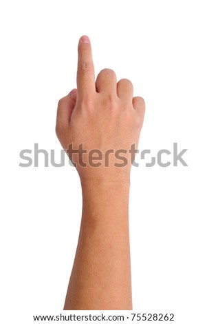 hand touching screen isolated on white - stock photo