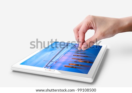 Hand touching screen on white tablet pc. Close-up finger - stock photo