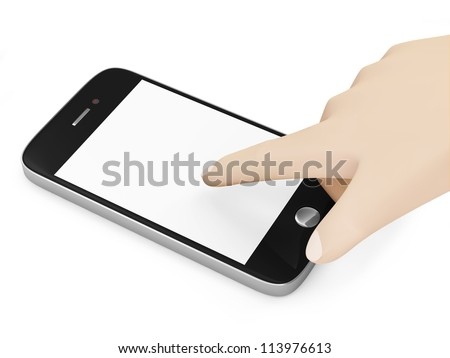 Hand Touching Smartphone with Blank Screen isolated on white background