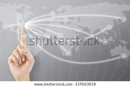 Hand Touching USA Marketing to World Concept