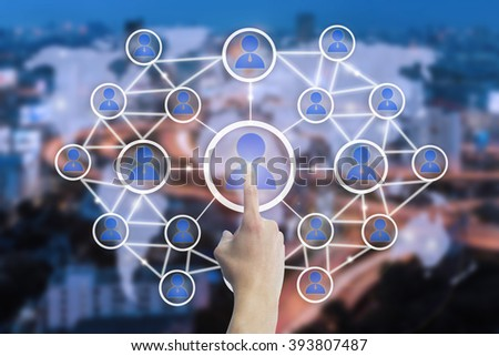 hand touching virtual icon of network connection concept