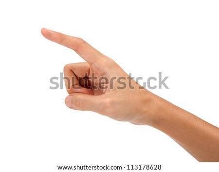 hand touching virtual screen - stock photo
