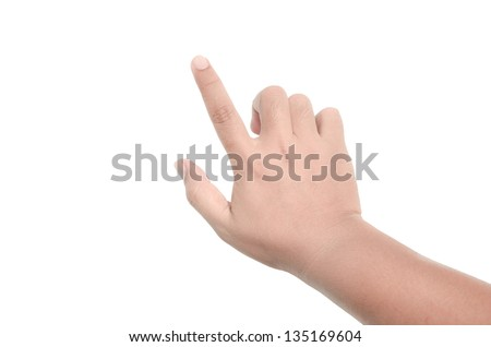 Hand touching virtual screen. Isolated on white - stock photo