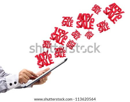 hand touchpad pc with Discounts 3D, isolated on white background - stock photo