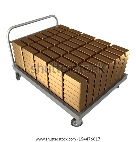Hand Truck, gold bars. isolated. a white background. 3d