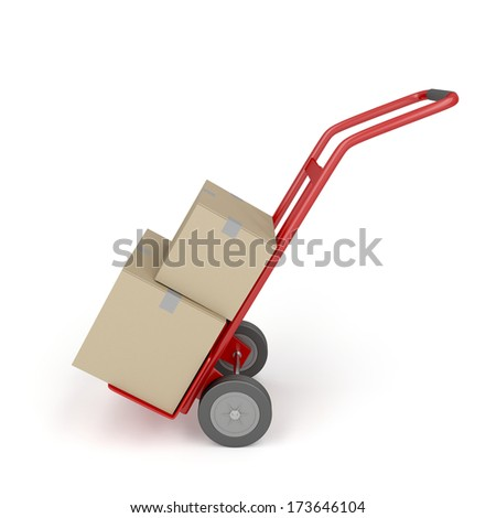 Hand truck loaded with cardboard boxes - stock photo