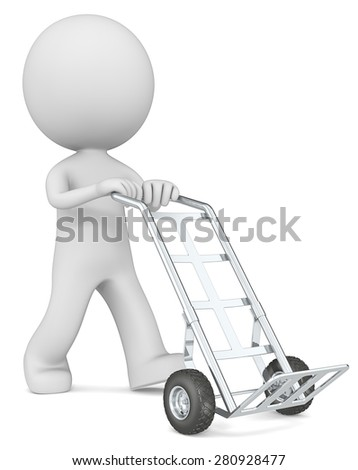 Hand Truck. The dude 3D character with empty Hand Truck.
