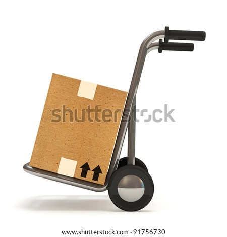 Hand truck with a box on white background (Delivery Concept) - stock photo