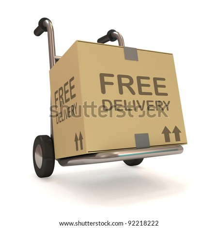 Hand truck with a box on white background (Free Delivery Concept) - stock photo