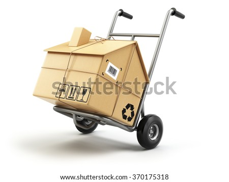 Hand truck with cardboard box as home isolated on white. Delivery or moving house concept. 3d - stock photo