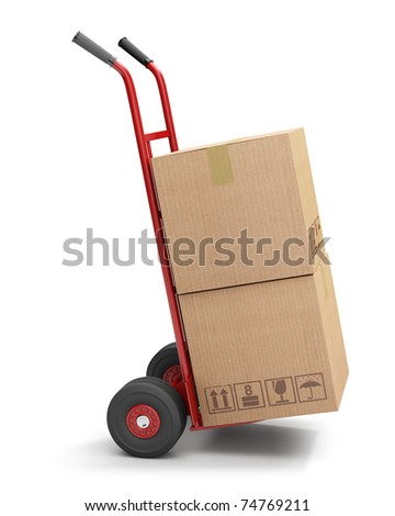 Hand truck with 2 cardboard boxes, isolated on white (3d illustration) - stock photo