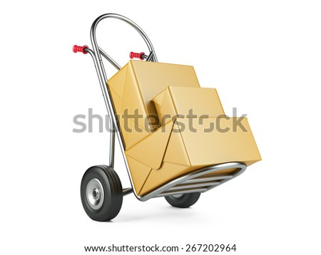 Hand truck with carton packages on a white background. Delivery concept - stock photo