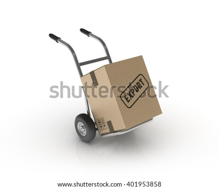 Hand Truck with EXPORT Cardboard Box on White Background - High Quality 3D Render   - stock photo