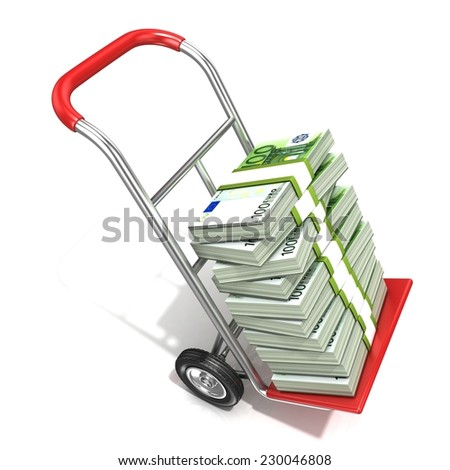 Hand truck with stacks of hundreds euros isolated on white background. 3D render illustration - stock photo