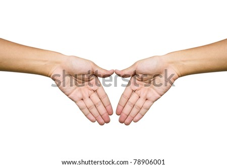 Hand trying to touch together , friendship and teamwork conceptual style - stock photo