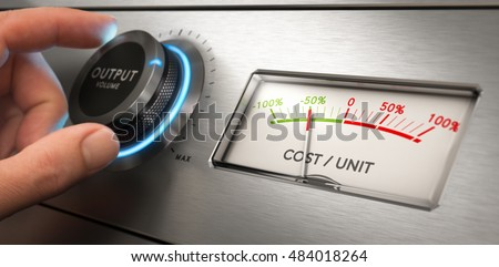 Hand turning a knob with output volume text written on it, with the consequence of a cost per unit reduction. Composite image between a photography and a 3D background.