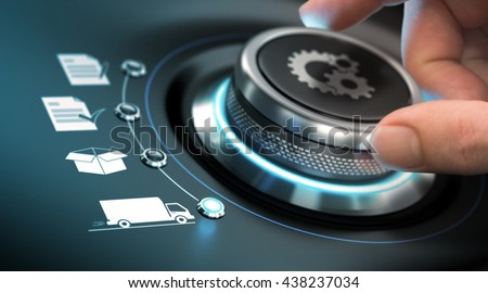 Hand turning a process knob with gears symbols. Concept of e-commerce. Composite image between a photography and a 3D background.