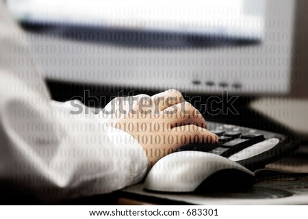 Hand typing at computer with binary code superimposed over the image - represents computer work, data, and/or surfing the web.