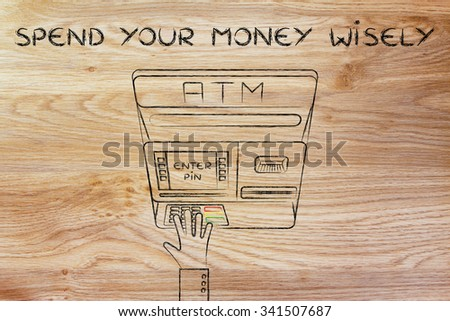 hand typing pin code on automatic teller machine, concept of spending money wisely