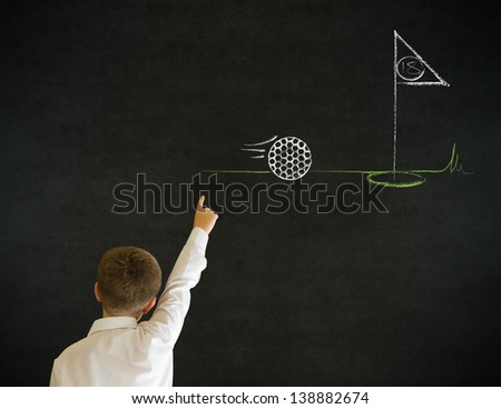 Hand up answer boy dressed up as business man with chalk golf ball flag green on blackboard background - stock photo