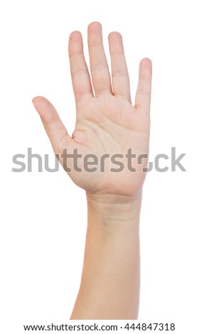 Hand up gesture on isolated on white background - stock photo