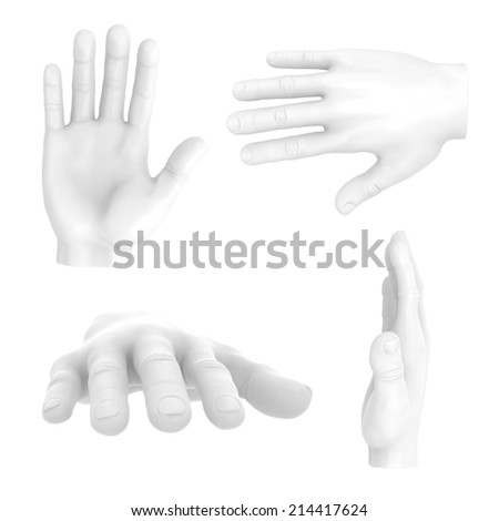 Hand up stop have five white symbol set.isolated on white. Easy editable for your design.  - stock photo