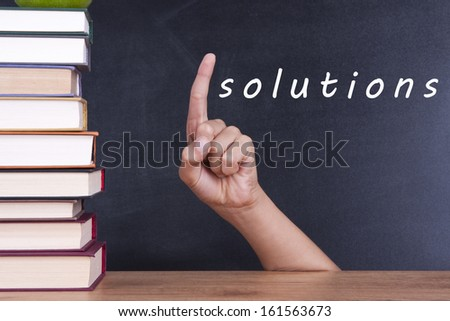 hand up with the answer and solution