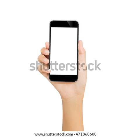 hand use phone mobile isolated with clipping path on white background
