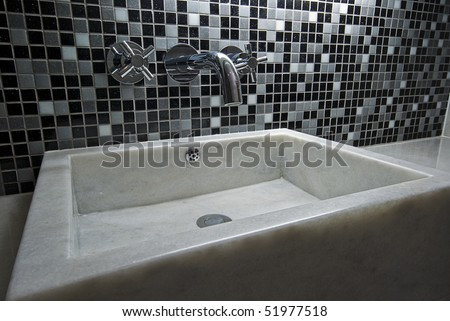 hand wash basin made of white marble - stock photo