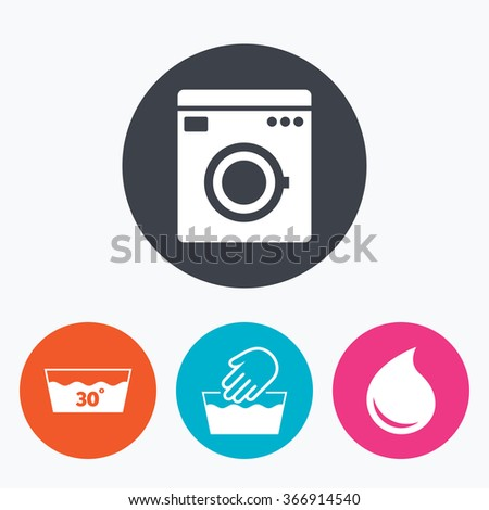 Hand wash icon. Machine washable at 30 degrees symbols. Laundry washhouse and water drop signs. Circle flat buttons with icon. - stock photo