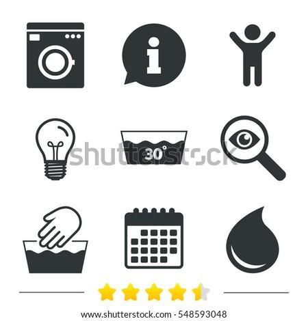 Machine Washable At 30 Degrees Symbols Laundry Washhouse And Water Drop