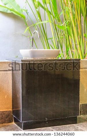 Hand washing basin in public park - stock photo