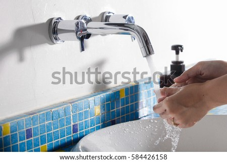 Illustration with tips on saving water consumption by man in a house - Water Sink Stock Images Royalty Free Images Amp Vectors