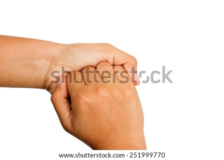Hand washing procedure, fourth step, real hand photo. over white background - stock photo