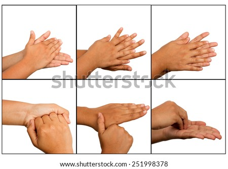Hand washing procedure, real hand photo. over white background - stock photo