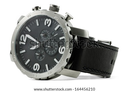Hand watch, macro, isolated,leather wrist let with clipping path - stock photo