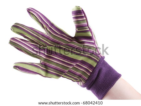Hand wearing a glove on a white background - stock photo