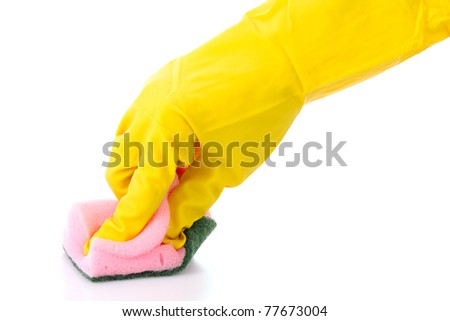 hand wearing a working glove and holding big sponge