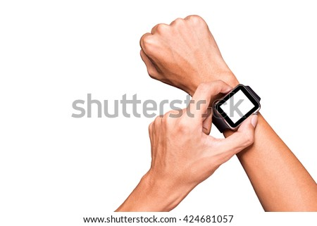 Hand wearing smart watch on isolated white background.