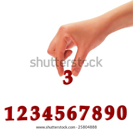 Hand which holds figure three. The image is presented on a white background.