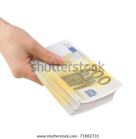 Hand with a bundle of banknotes two hundred euros