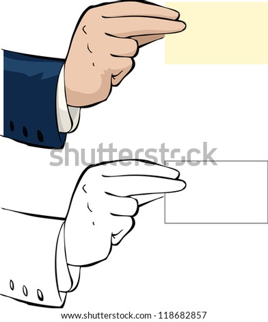 Hand with a business card raster version