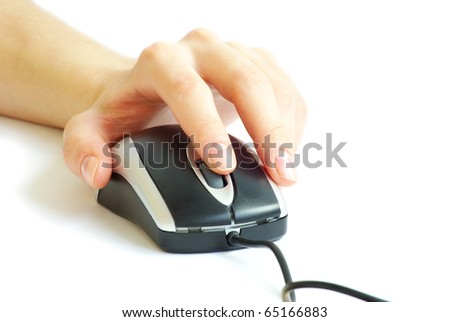 Hand with a computer mouse isolated on white