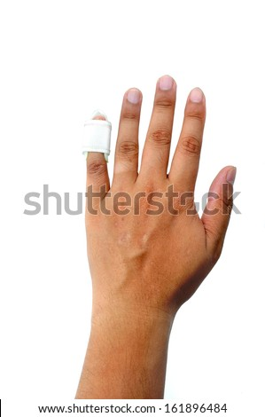Hand with a finger splint - stock photo